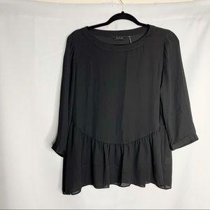 zoa new york black sheer peplum blouse S